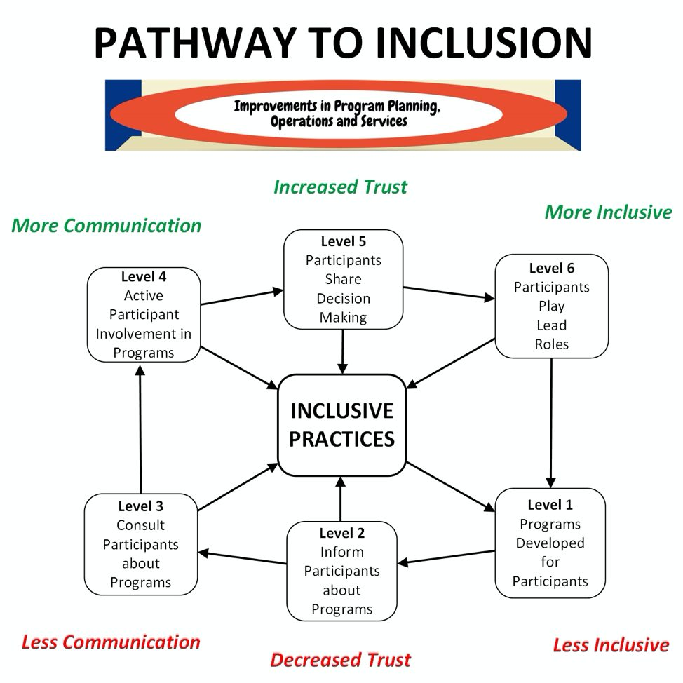 Pathways to Inclusion Image with a web connecting 6 levels of inclusion