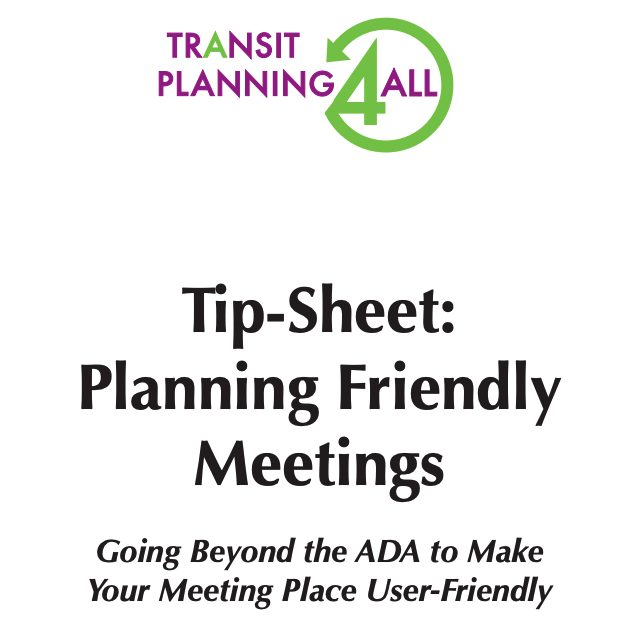 TP4A PLanning Friendly Meetings Tip Sheet cover page