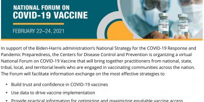 CDC – National Forum on COVID-19 Vaccine